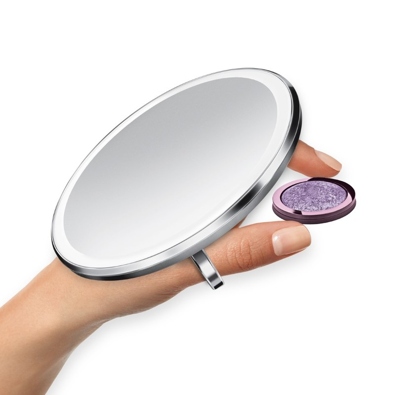 Simple Human Sensor Compact Mirror Stainless Steel [10 cm]