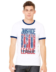 CID Justice League Movie Strips Ringer White Unisex T-Shirt