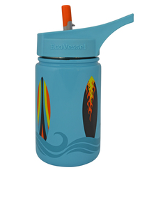 EcoVessel Scout Blue W/Surfboards Kids Water Bottle 400ml