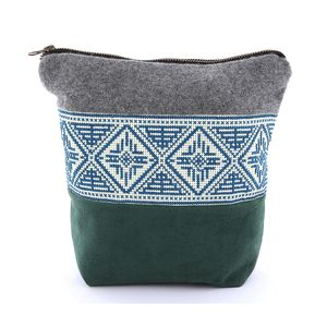 Tribalogy Travel Cosmetic Bag Blue On White Embroidery