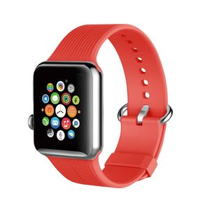 Promate Silica-42 Red Lightweight Contoured Silicon Watch Strap with Single Tour Deployment Buckle for 42mm Apple Watch