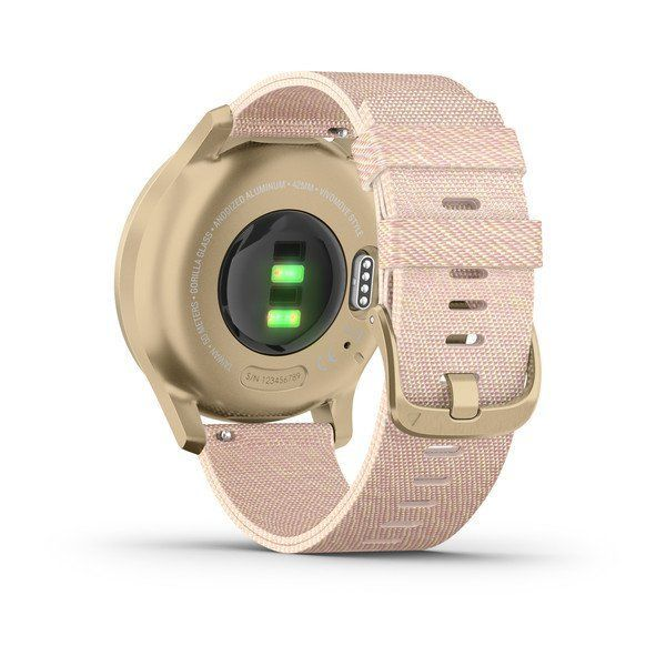 Garmin vivomove Luxe 42mm Light Gold Aluminium Case with Blush Pink Woven Nylon Band Smart Watch