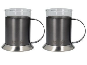 La Cafetiere Edited Brushed Gun Metal Glass Cups [Set of 2]
