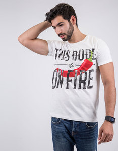 Happiness This Dude Basic Flammed T-Shirt