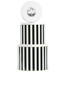 Miss Etoile Box Tin Round Cake Black Stripes