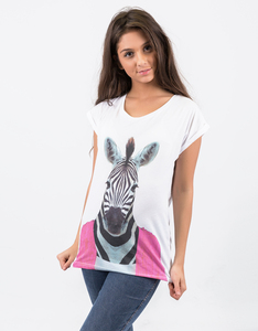 Saint Noir Zebra Rolled Sleeve White T-Shirt