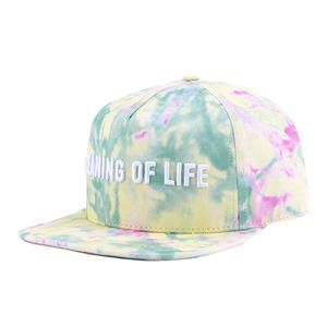 Meaning of Life Tie Dye Snapback Men's Cap Yellowith Pale Pink