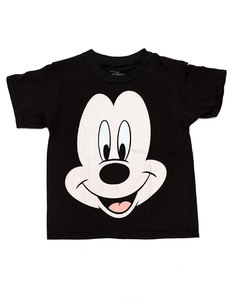 Mad Engine Mickey Mouse Face The Fact Kids T-Shirt Black
