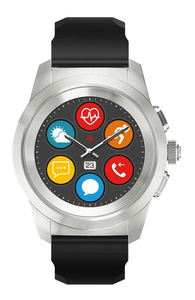MyKronoz ZeTime Silver with Black Silicone Band Hybrid Smart Watch Regular 44mm