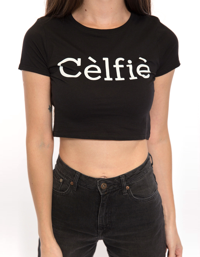 Reason Celfie Crop Black Tee M