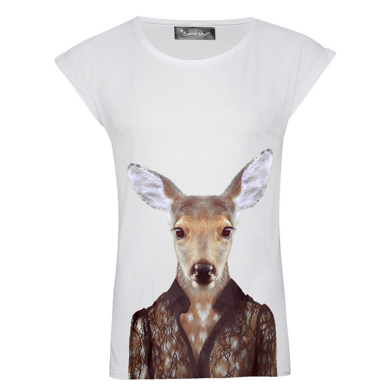 Saint Noir Deer Women'S Rolled Sleeves T-Shirt M