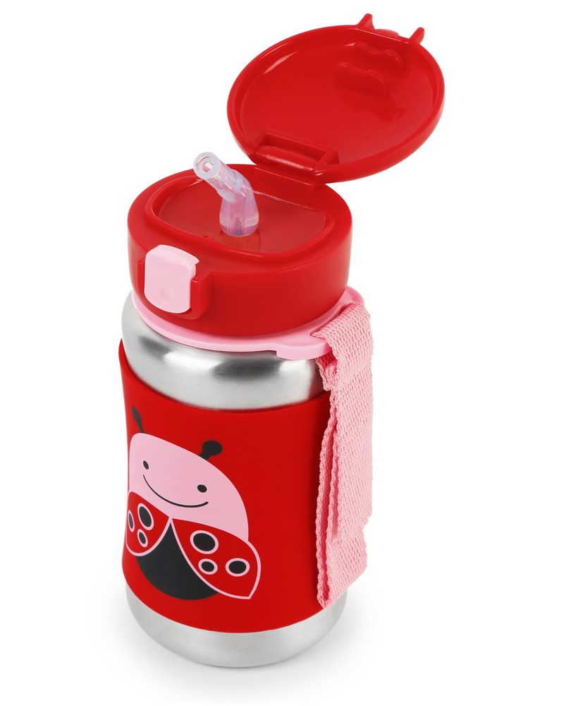 Skip Hop Zoo Stainless Steel Straw Kids Water Bottle Ladybug 350Ml
