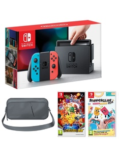 Nintendo Switch 32GB Console with Neon Joy-Con Controller + Pokken Tournament + Snipperclips + Travel Bag