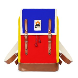 Ykra Matra Mini Leather Strap Blue/Red/Yellow Backpack