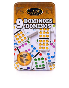 Double 9 Dominoes In A Tin Board Game