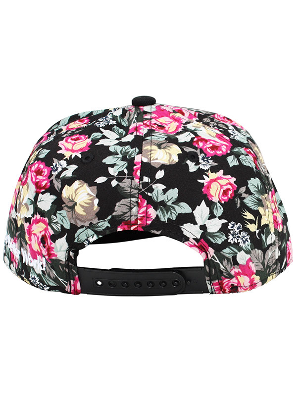 Alex & Chloe Supermodel Black Floral/Red Snapback Cap