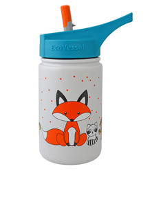 EcoVessel Scout Gray Fox Kids Water Bottle 400ml
