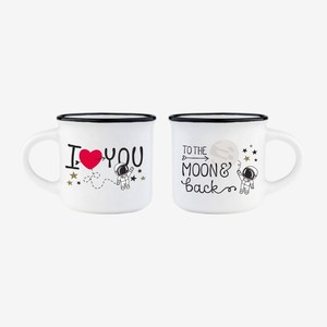 Legami Espresso for Two to the Moon & Back Coffee Mugs [Set of 2]