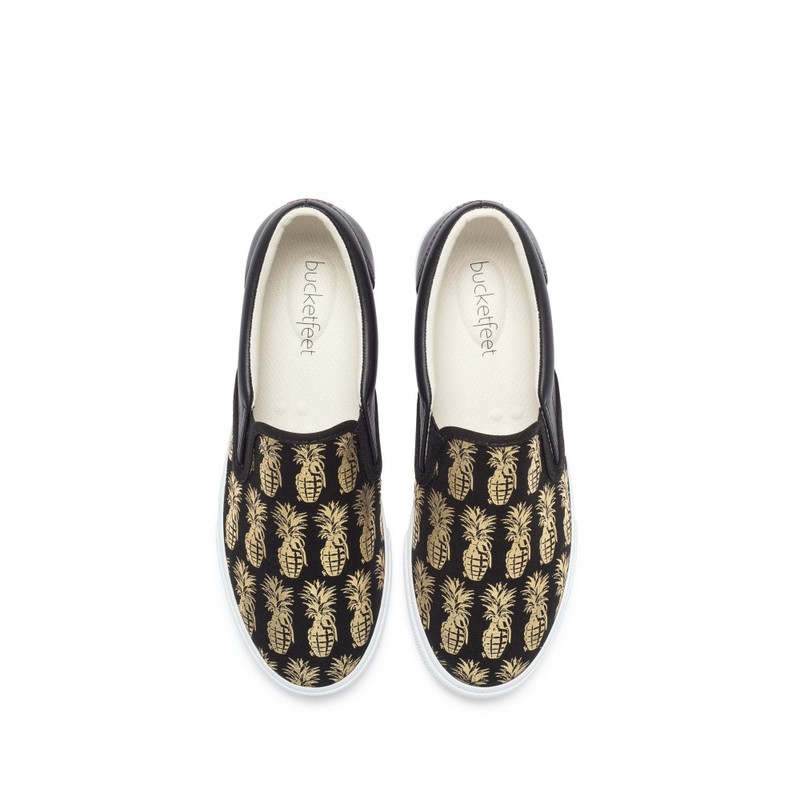 Bucketfeet Pineappleade Black/Gold Low Top Canvas Slip On Women'S Shoes Size 7