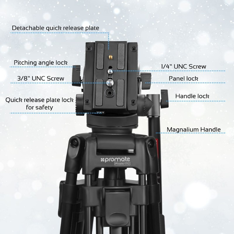 Promate Pixels-170 Black Extendible Tripod with 2-Way Pan & Tilt Head