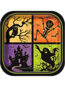 "Unique Haunted House Square 9"" Plates [Pack of 8]"