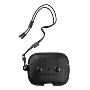 Woodcessories Aircase Leather Necklace Case Midnight Black for Airpods