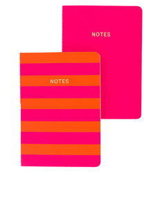 Go Stationery Colourblock Pink/Orange Stripe A6 Set Of 2 Books