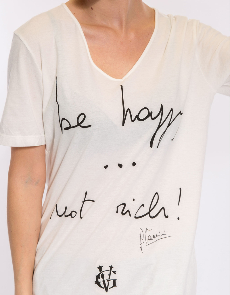 Be Happy Not Rich Gv White Women's T-Shirt