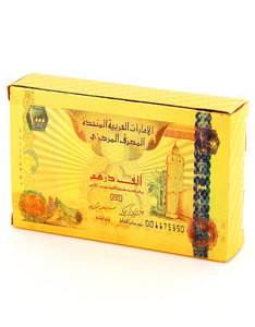 1000 Dirhams Gold Foil Plated Playing Cards