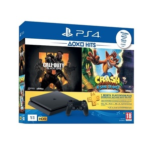 PS4 Slim 1TB Jet Black + Call Of Duty Black Ops 4 + Crash Bandicoot N. Sane Trilogy + 1 Month PS Pus