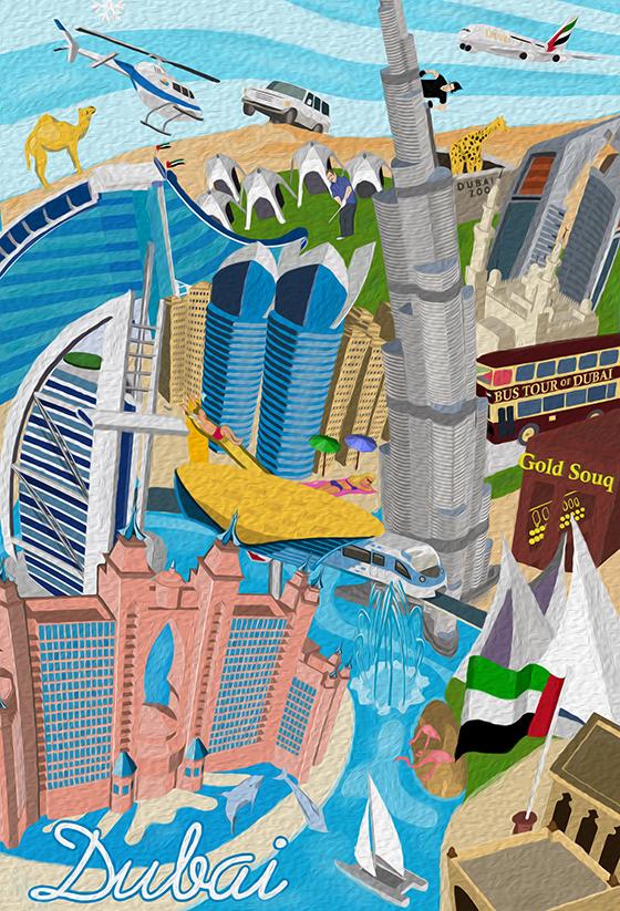 Dubai Poster 25 Landmarks Amp Attractions Artwork And