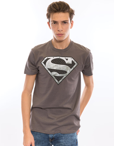 Superman Super Metallic Shield Charcoal Men's T-Shirt