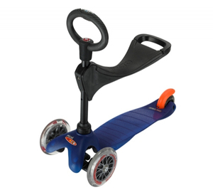 Mini Micro Scooter Blue with Seat O-Bar & T-Bar