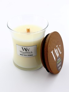Woodwick Medium Candle Jar White Tea & Jasmine