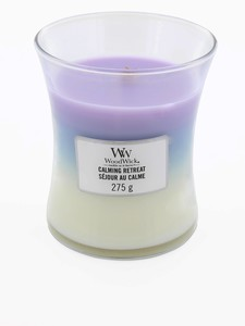 Woodwick Trilogy Meduim Calming Retreat Violet Blue/White Candle