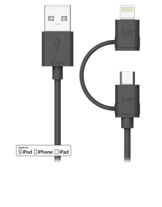 iLuv 2-In-1 Black Lightning & Micro Cable