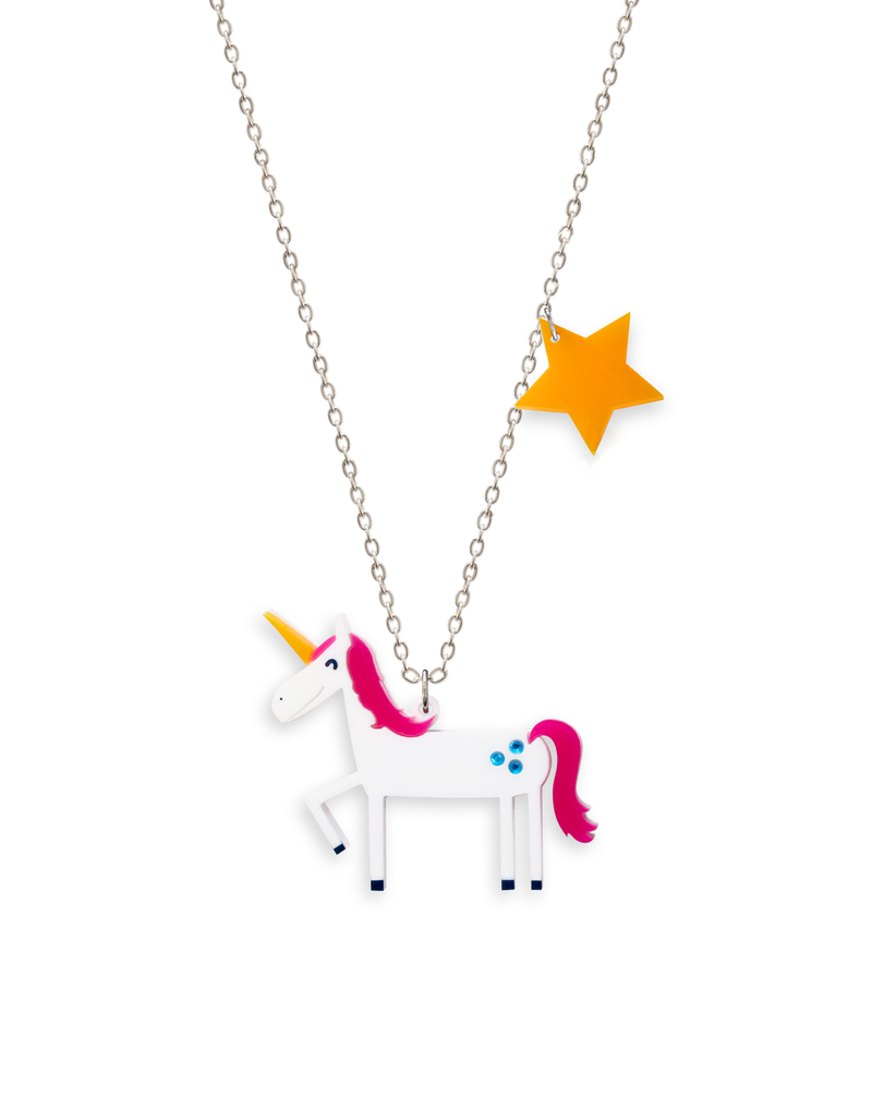 gold sterling chain yellow pendant necklaces unicorn pendants image plain finish and silver