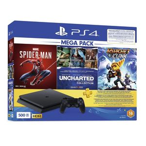 Sony PS4 Slim 500 GB Jet Black + Marvel Spider-Man + Uncharted Collection + Rachet & Clank + DualShock4 Controller + 3 Months PS Plus [Bundle]
