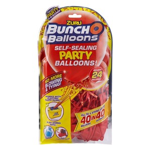 Bunch O Balloons Party 24 Self-Closing Latex Balloons Refill Pack Red