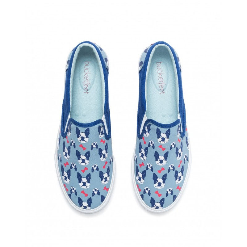 Bucketfeet The Perfect Gentleman Light Blue/Navy Low Top Canvas Slip On Women'S Shoes Size 10