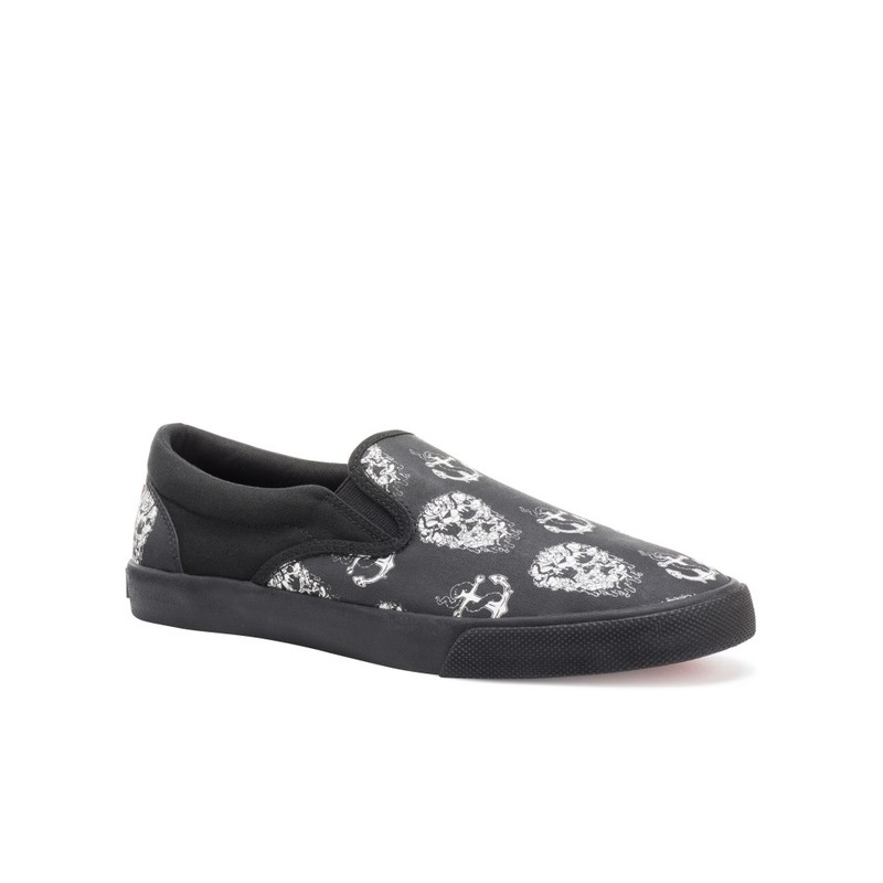 Bucketfeet Skull And Anchor Black Low Top Canvas Slip  On Men'S Shoes Size 10