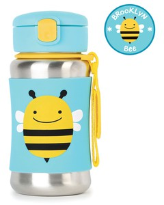 Skip Hop Zoo Stainless Steel Straw Kids Water Bottle Bee 350ml