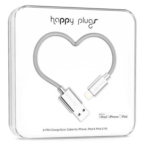 Happy Plugs Charge/Sync Lightning-Usb Silver Cable 2M