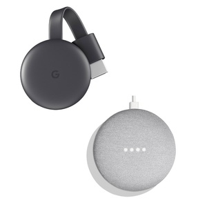 Google Chromecast 3 Charcoal + Google Home Mini Chalk