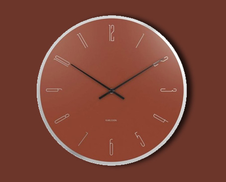 Karlsson Wall Clock Mirror Numbers Glass Clay Brown.jpg