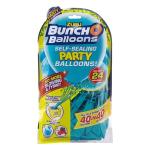 Bunch O Balloons Party 24 Self-Closing Latex Balloons Refill Pack Teal
