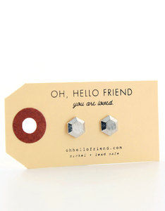Oh Hello Friend Hexagon 3D Silver Earrings