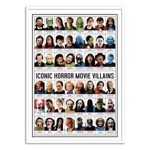 Iconic Horror Movies Villains Art Poster by Olivier Bourdereau [30 x 40 cm]