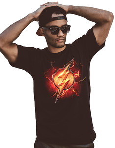 CID Justice League Movie Flash Symbol Black Unisex T-Shirt