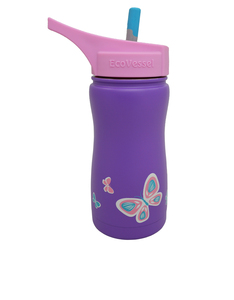 EcoVessel Frost Purple W/Butterfly Kids Water Bottle 400ml
